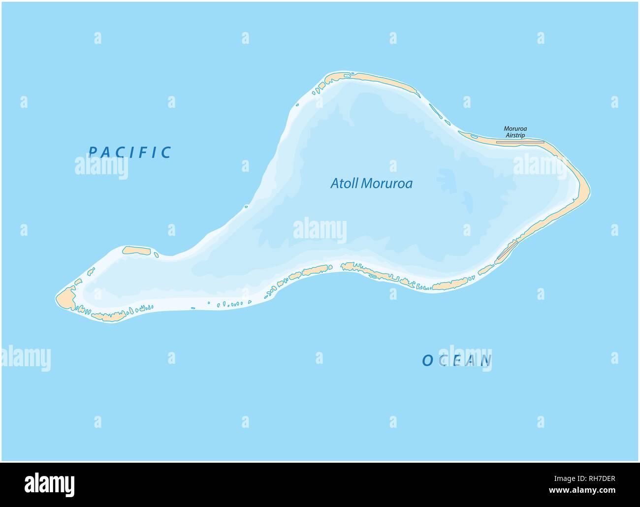 vector map of Moruroa (Mururoa, Mururura) atoll, which belongs to French Polynesia - Stock Vector
