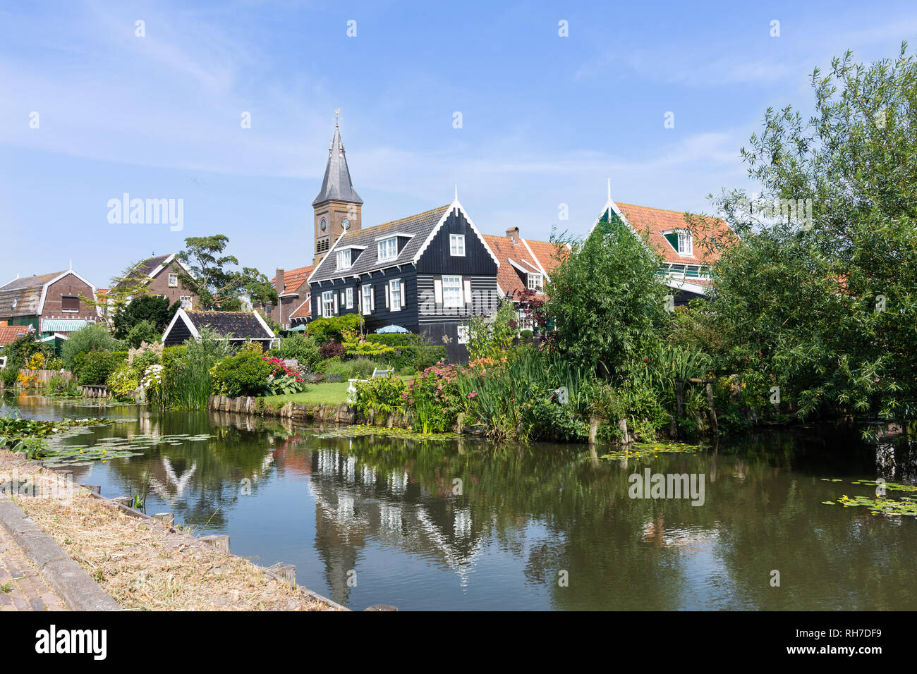 panorama of houses and a canal in hisotric city Edam, Netherlands - Stock Image