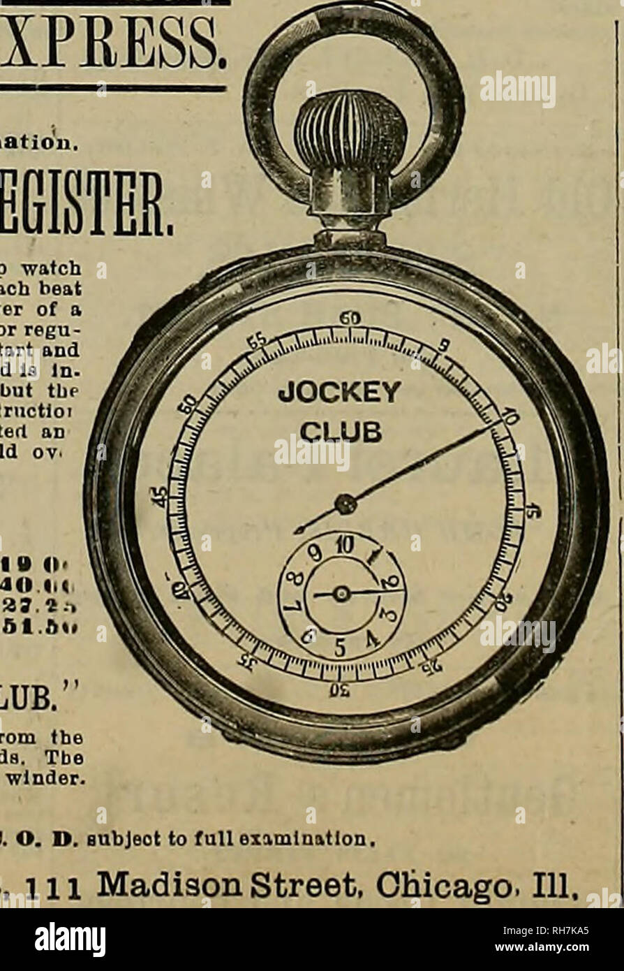 """. Breeder and sportsman. Horses. HTTiL""""HE mSTHE EXPRESS. No money required until after full examination. HORSE TIER Al MINUTE REGISTER Chronograph watch which combines an accurate stop watch for sporting, timing horses, boat races, doctors, where each beat of the pulse 1b timed, and where accurate time (quarter of a second) Is necessary. With a p«*rfert time-keeper for regu- lar use, same as any other watch, the mechanism to start and stop 1b of the most elmple and durable construction, and la In. dependent of the other parts of the movement. None but the very beat material obtainable Is - Stock Image"""
