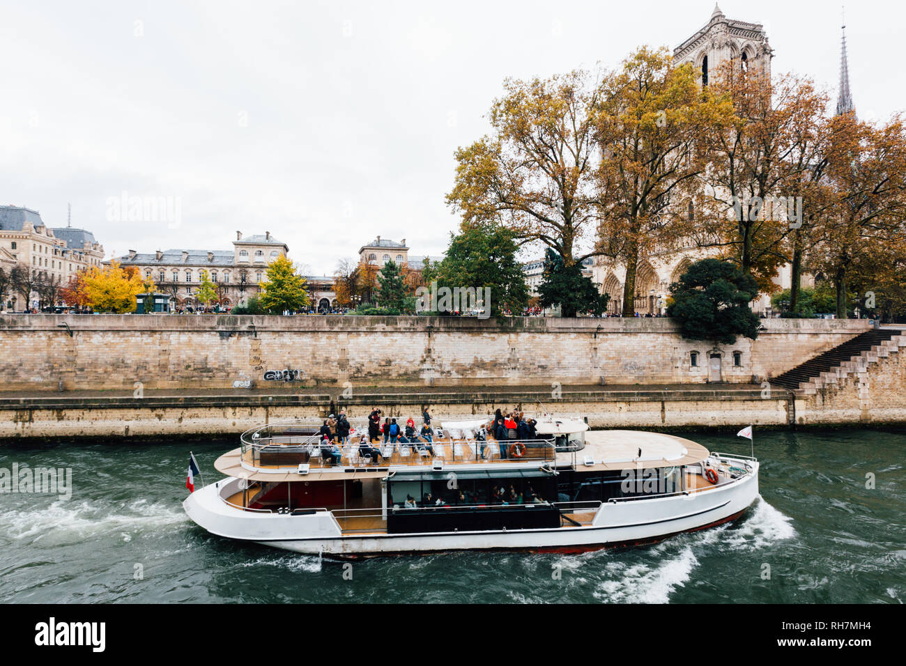 Paris (France) - Walking along the river Seine in a winter day Stock Photo