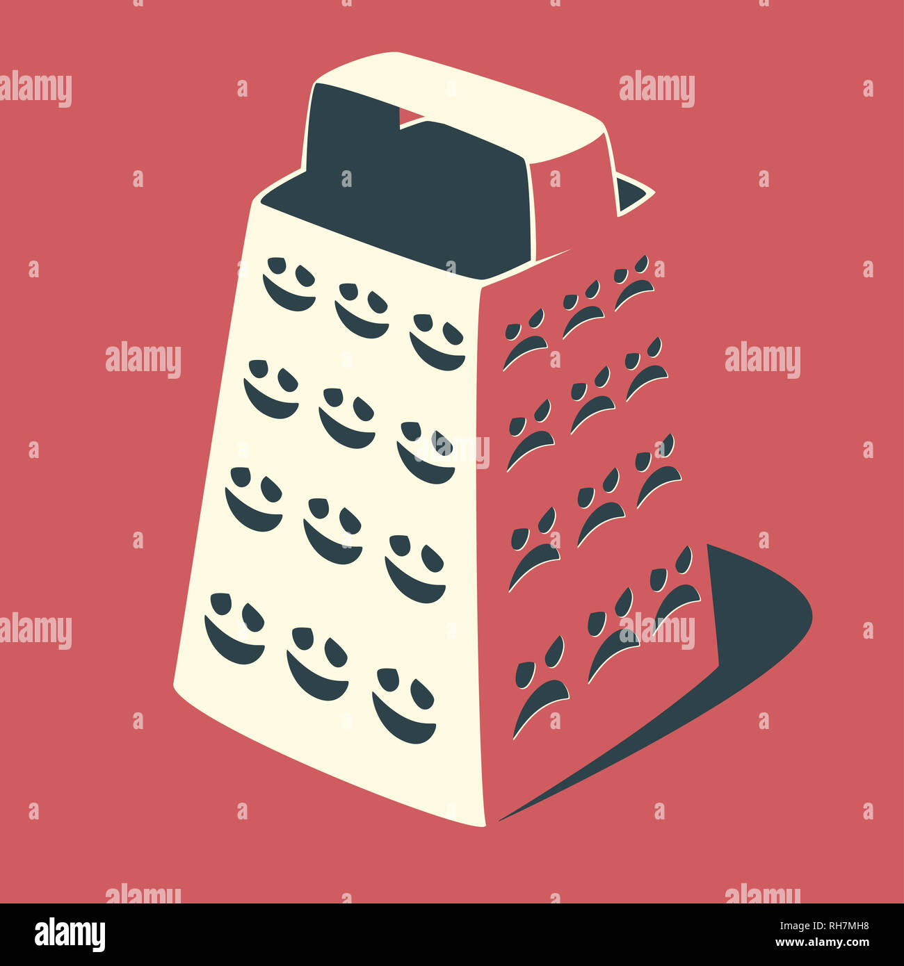 Public opinion concept illustration. The grater with the holes as negative and positive face expressions. - Stock Image