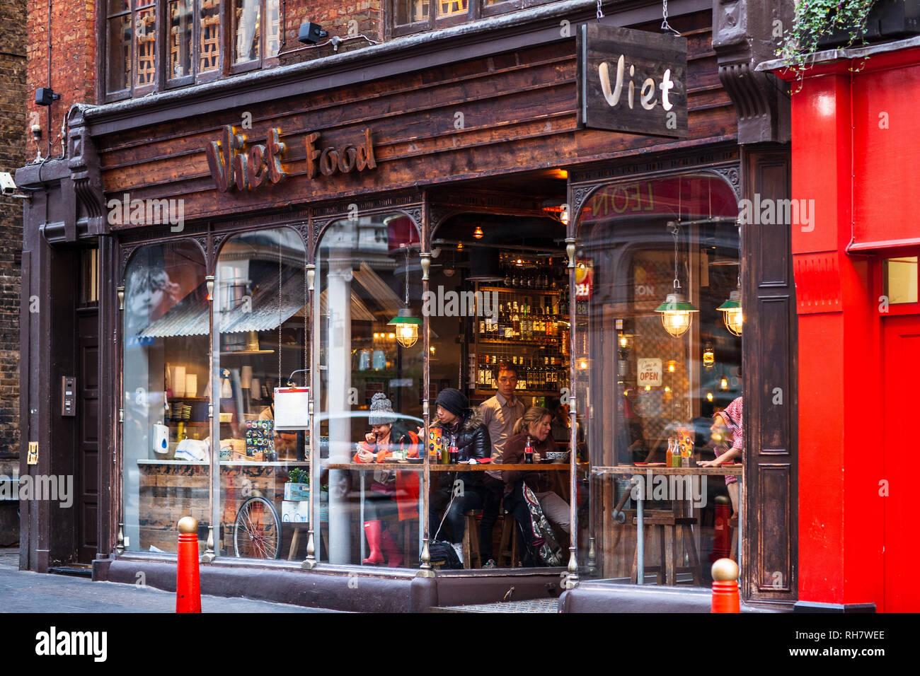 Viet Food Restaurant Soho London  - the Viet Food Vietnamese Restaurant on Wardour Street in London's Soho entertainment district - Stock Image