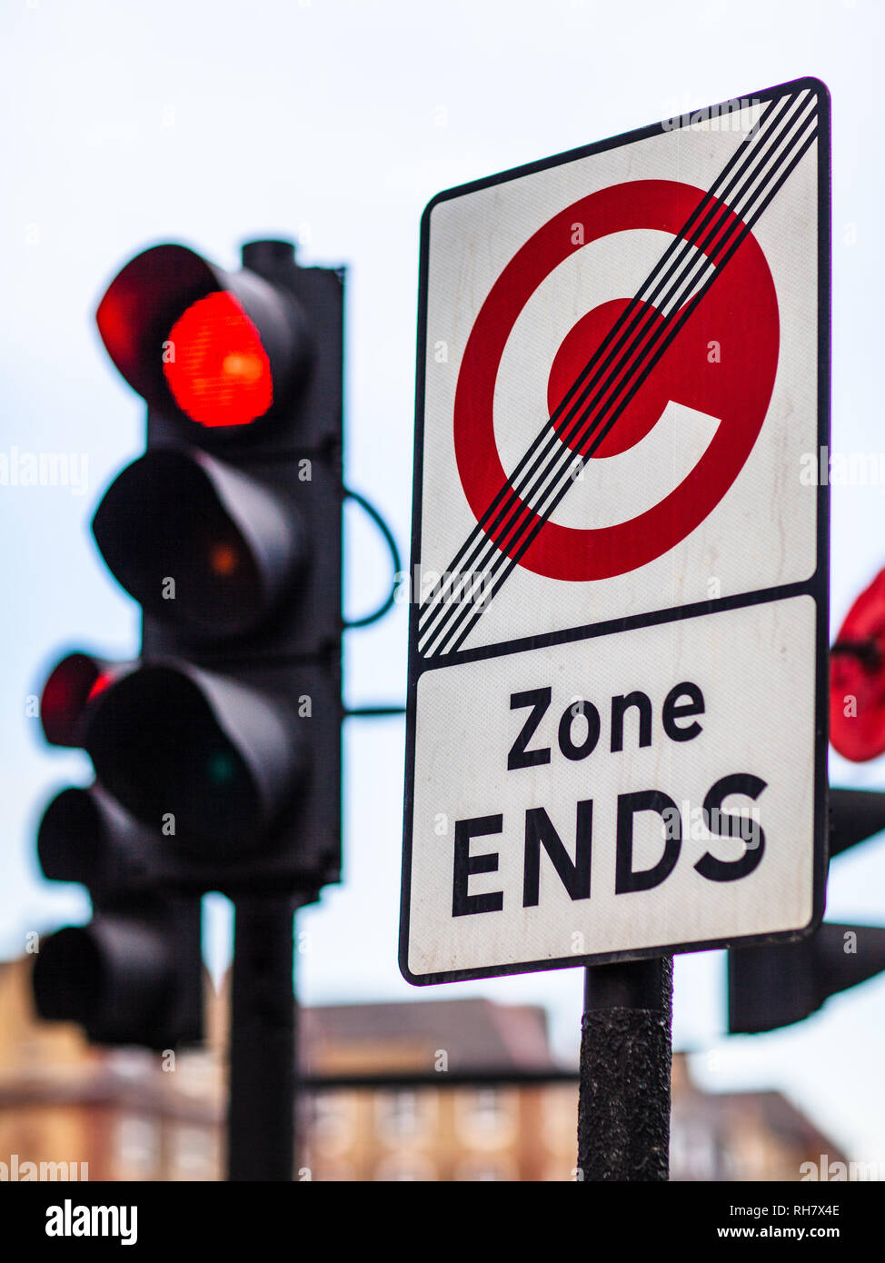 London Congestion Zone - sign marking the end of the London Congestion Charging Zone near Old Street Roundabout in Central London - Stock Image