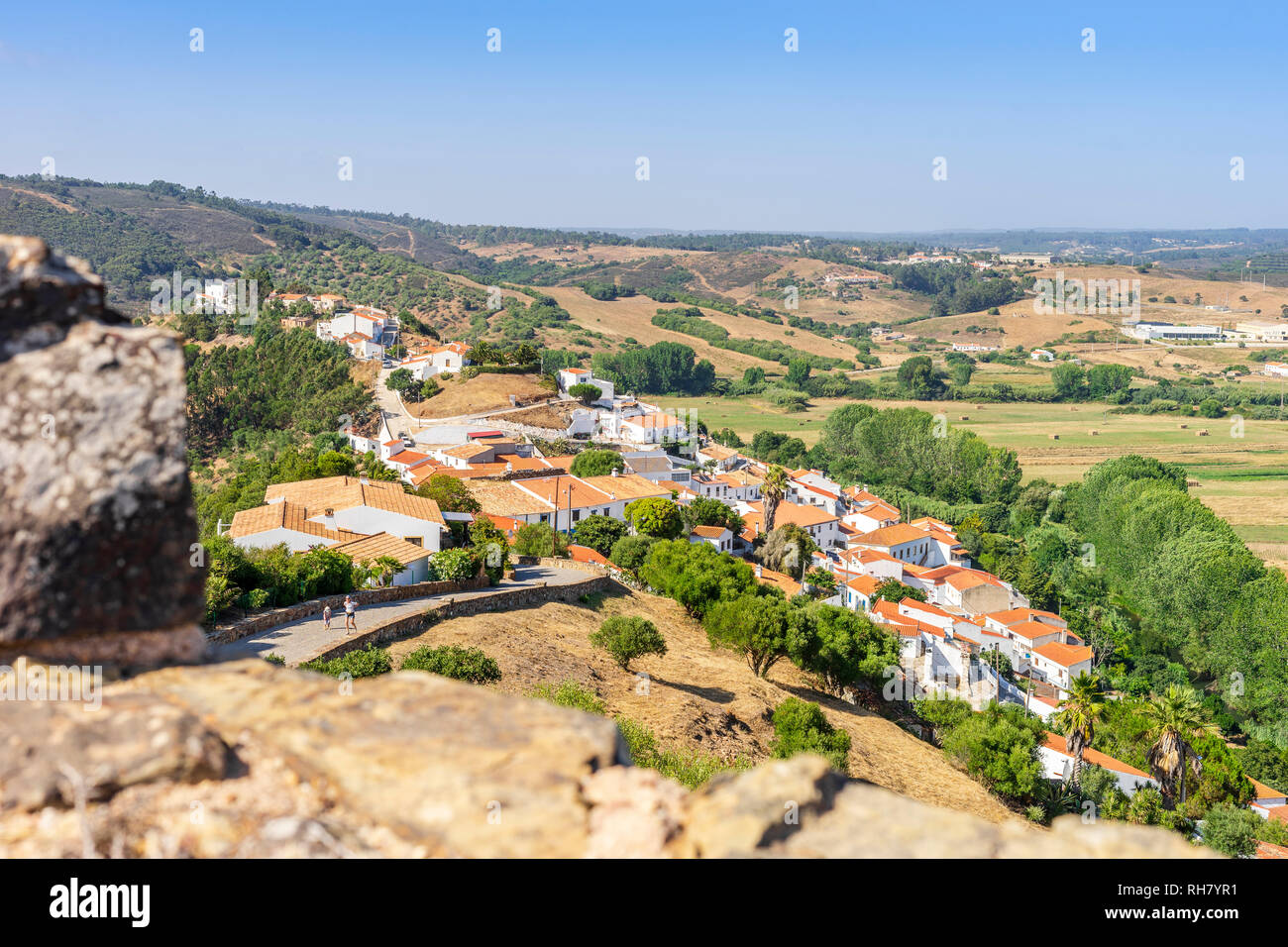 Charming Aljezur with the Moorish castle in foreground, Algarve, Portugal Stock Photo