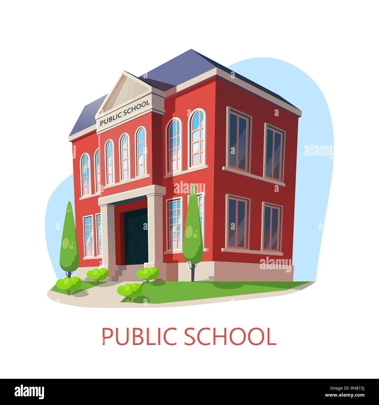 Public school. Elementary education building - Stock Image