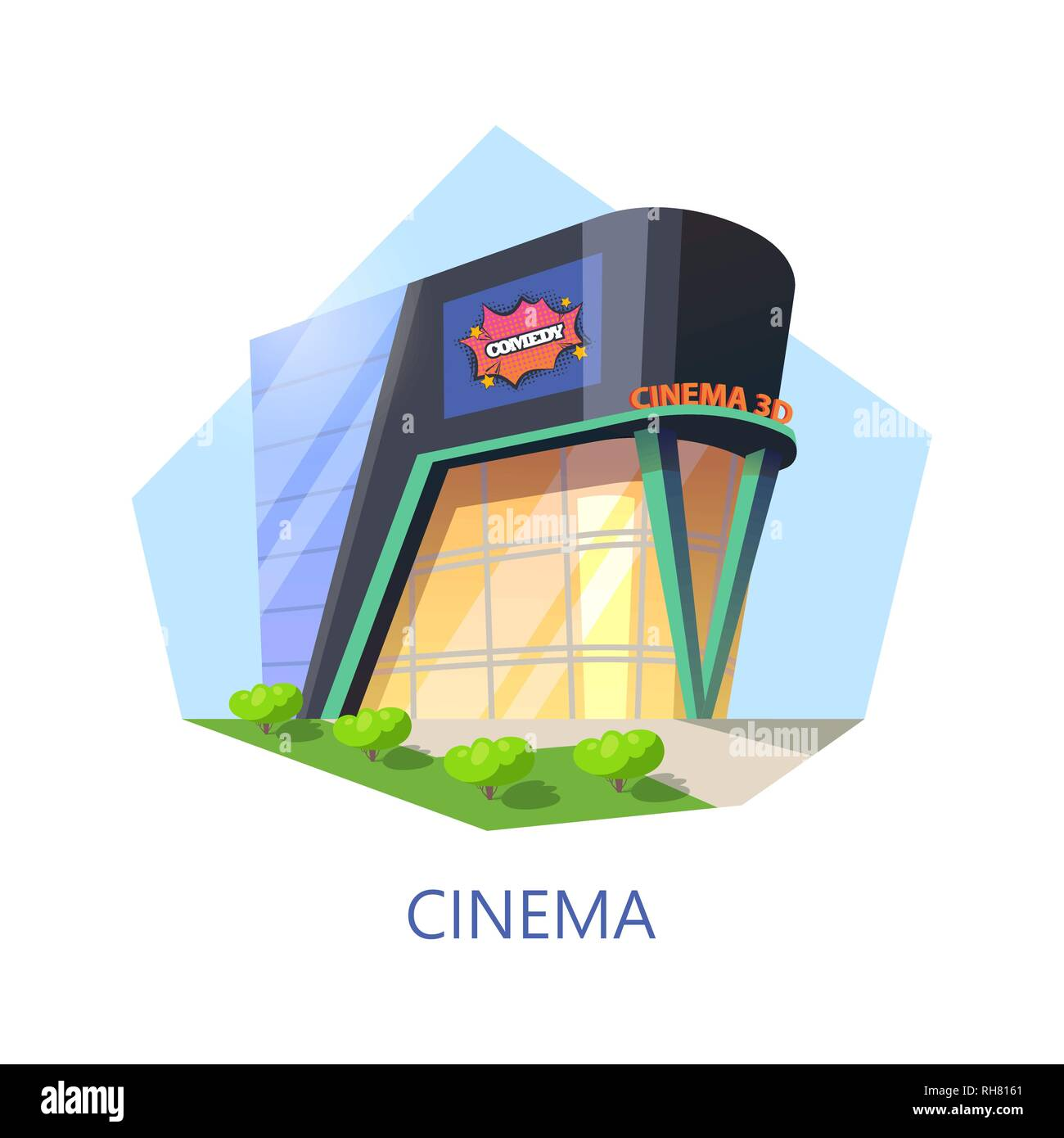 Cinema building for watching film and movie - Stock Image