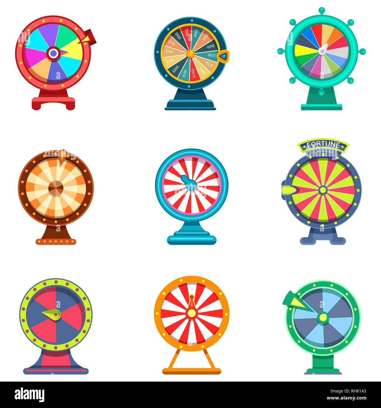 Set of isolated wheels of fortune icons for casino - Stock Vector