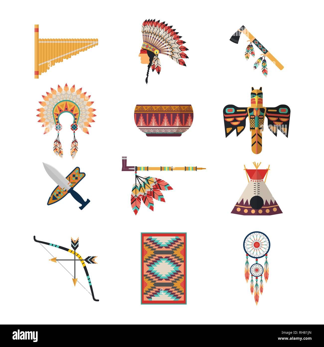 American indian symbols - Stock Image