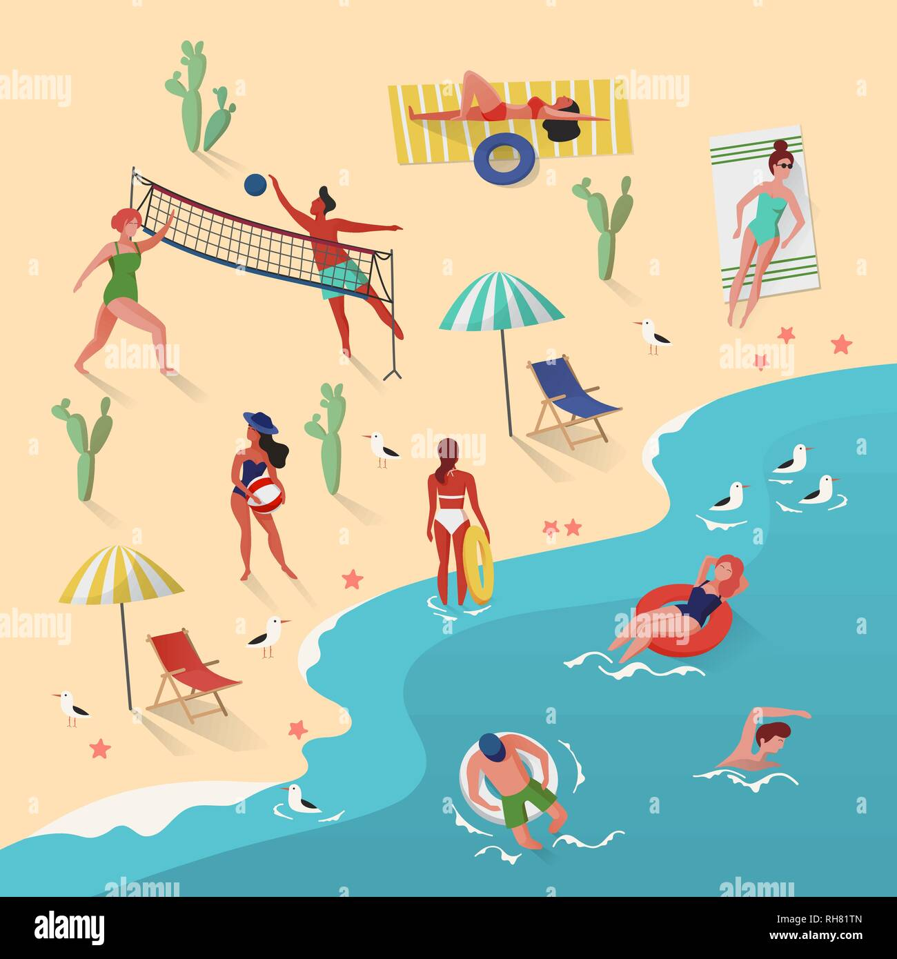 People swimming and playing - Stock Vector
