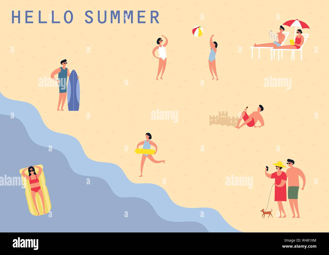 People at sea beach swimming - Stock Vector