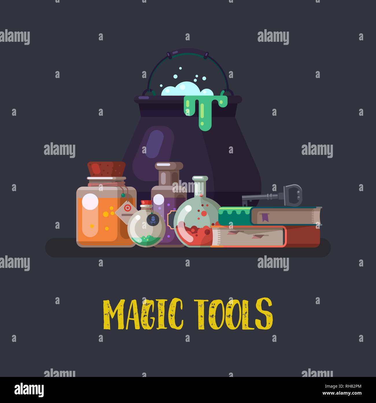 Witch cauldron and magic books - Stock Image