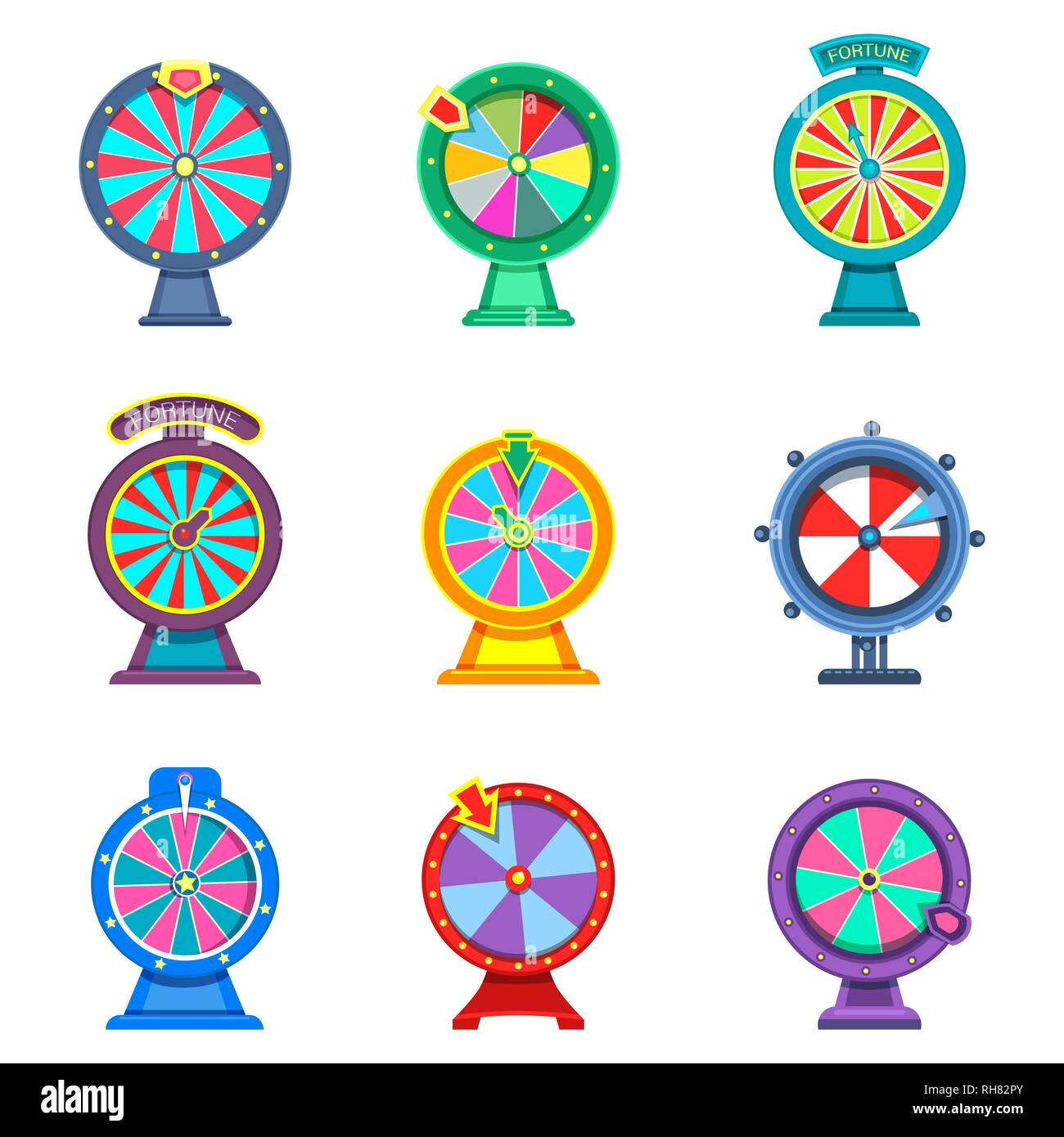 Set of isolated wheels of fortune - Stock Vector