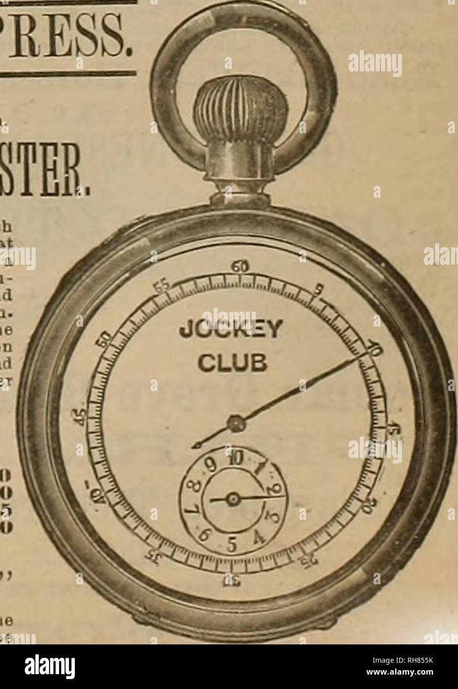 """. Breeder and sportsman. Horses. HILL""""HE ms THE EXPI!ESS' o money required until after full examination. HORSE TIME Al MINDTE REGISTER. Chronograph watch which combines an accurate slop watch for sporting, timing horses, hoat races, doctors, where each beat of the pulse is timed, and where accurate time fquarter of a second) Is necessary. With a perfect time-keeper for regu- lar use, same as any other watch, the mechanism to start ana stop Is of the most simple and durable construction, and Is in. dependent of the other parts of tbe movement. None but the very best material obtainable Is - Stock Image"""
