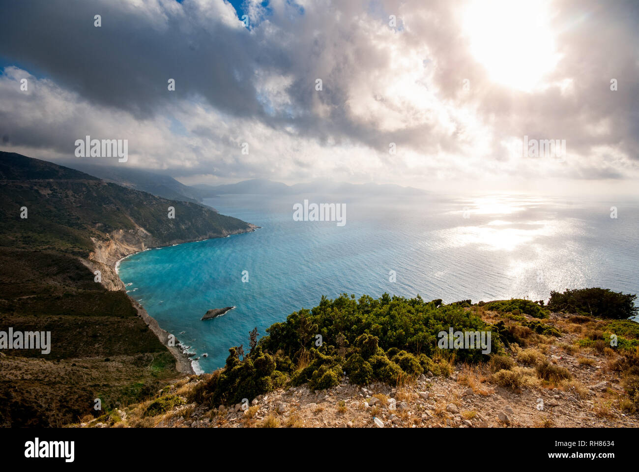 a beach in Kefalonia in the mediterranean - Stock Image