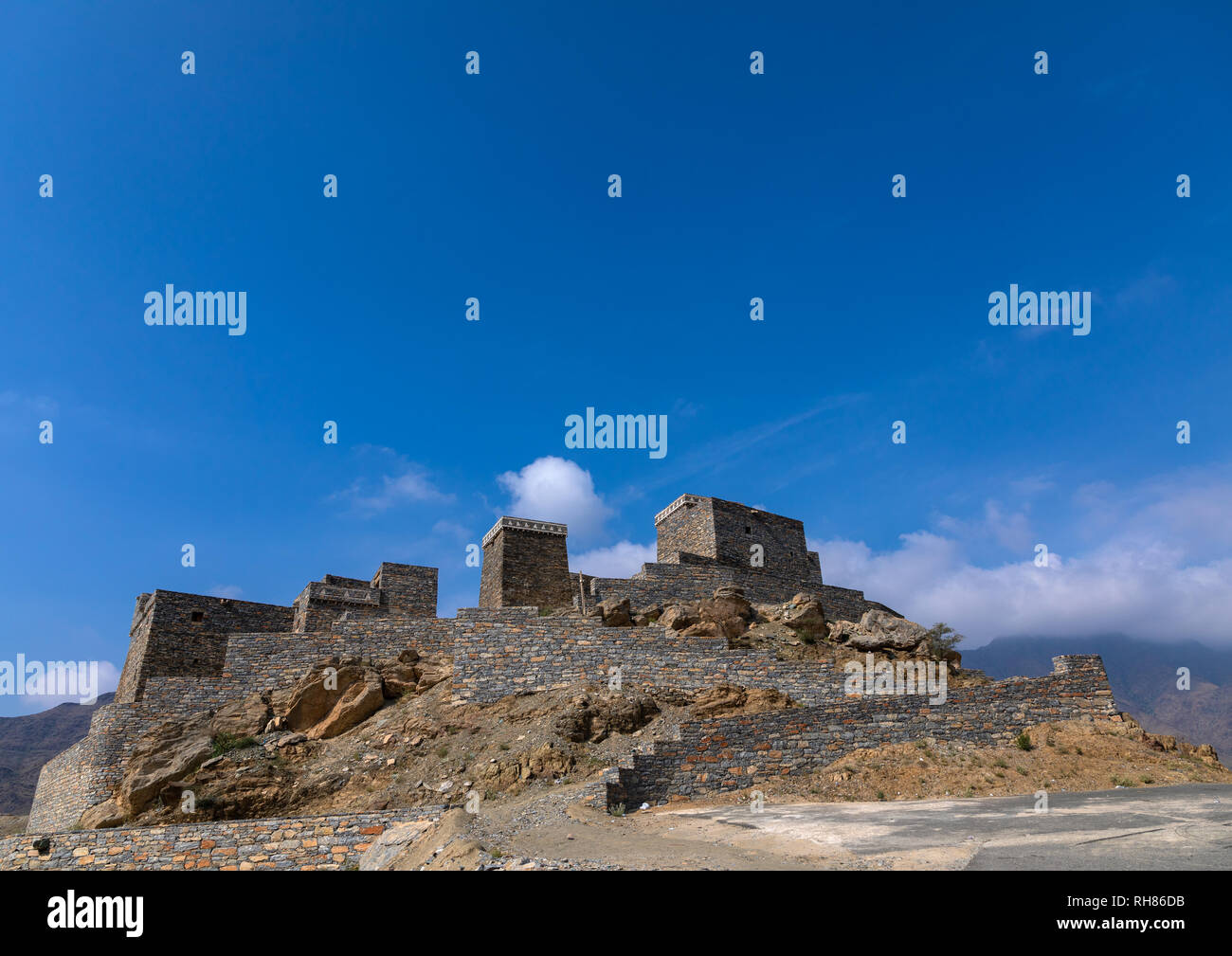 Dhee Ayn marble village, Al-Bahah region, Al Mukhwah, Saudi Arabia - Stock Image