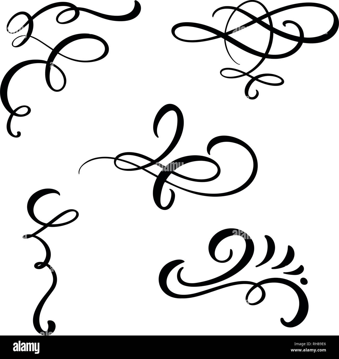 Set of vector vintage line elegant dividers and separators, swirl and corner decorative ornaments. Floral line filigree design elements. Flourish curl - Stock Image