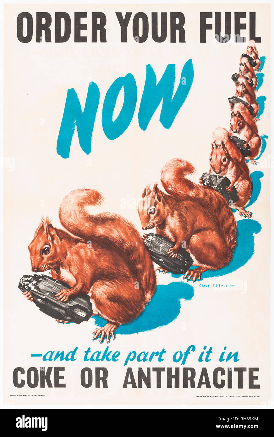 'Order your fuel now' second world war propaganda poster featuring squirrels carrying lumps of coal. - Stock Image