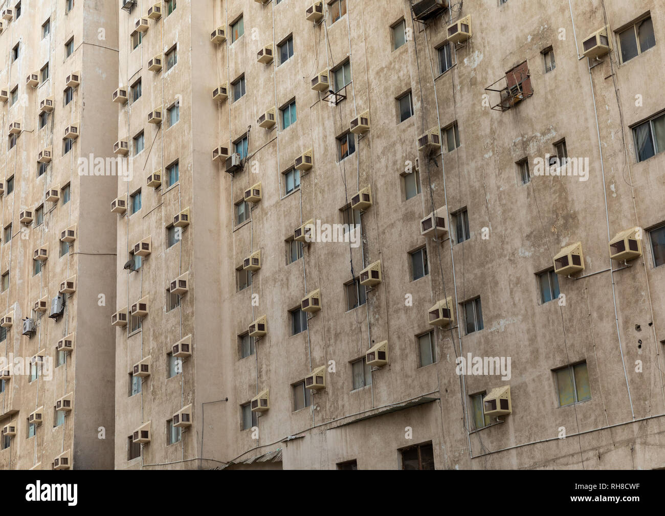 Modern building with many air conditioners, Mecca province, Jeddah, Saudi Arabia Stock Photo