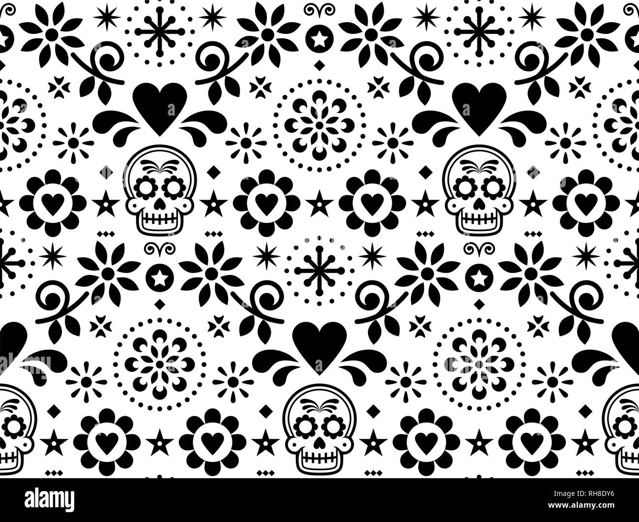 Sugar Skull Vector Seamless Pattern Inspired By Mexican Folk Art Dia De Los Muertos Repetitive Design Black And White Stock Vector Image Art Alamy