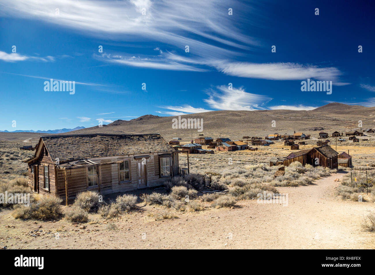 Ghosttown of Bodie in the California Desert - Stock Image