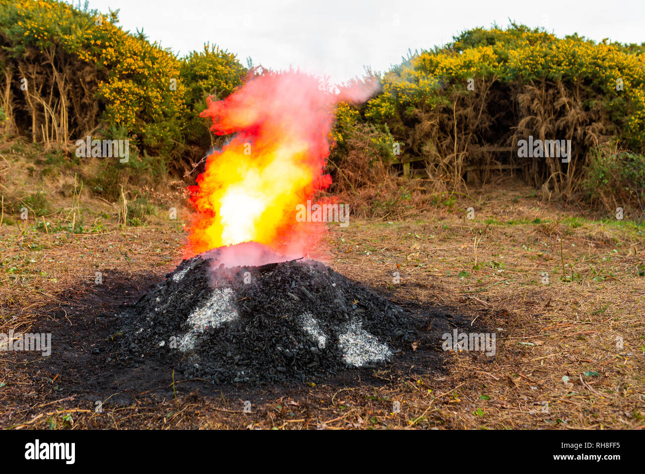 Recently extinguished bonfire which has been illuminated from behind with red flash making the steam appear as an explosive flame. - Stock Image