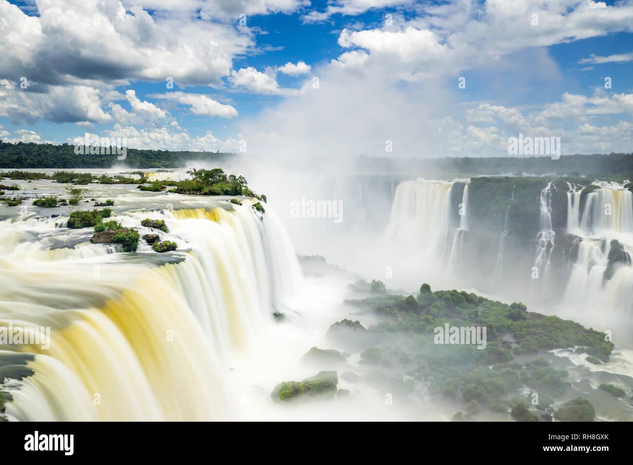 a long exposure panorama of the worldfamous Iguazu Falls on the Brazilian side. - Stock Image