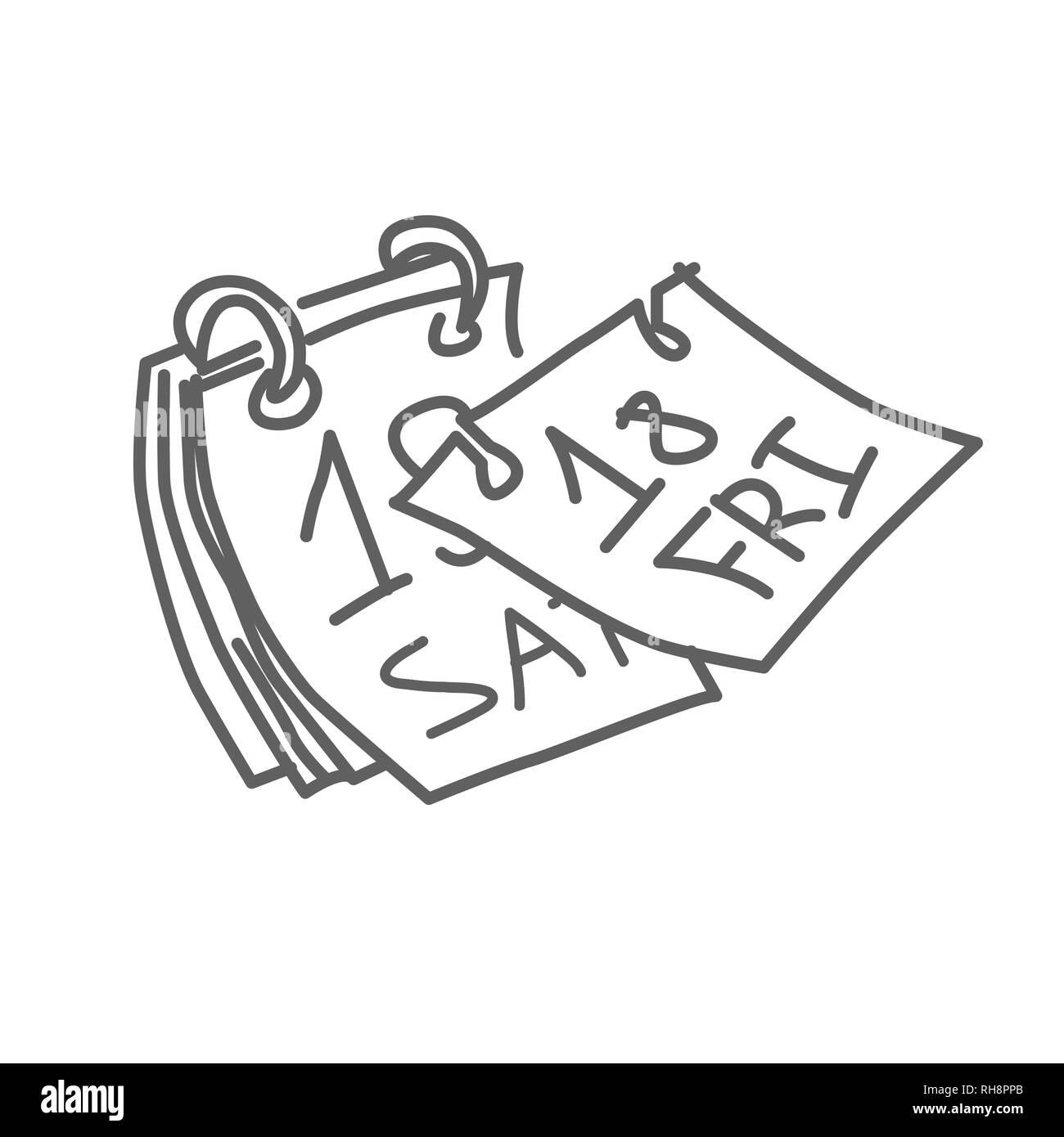 Tear-off calendar doodle vector illustration - Stock Image