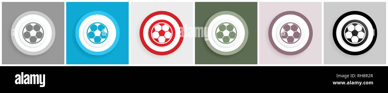 Soccer icon set, vector illustrations in 6 options for web design and mobile applications - Stock Vector