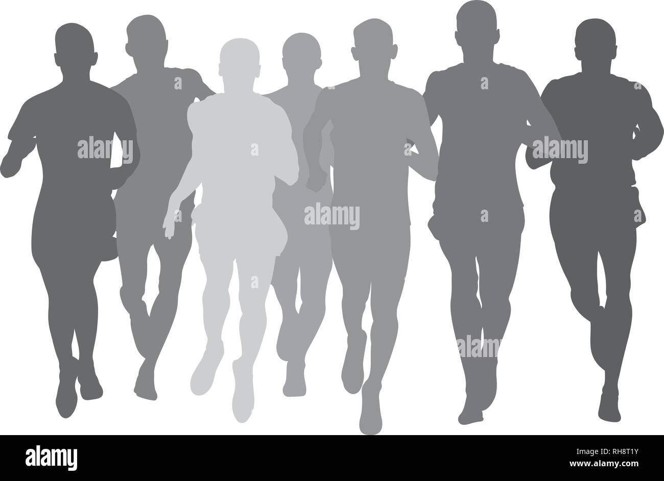 silhouette group men athletes runners run together - Stock Vector
