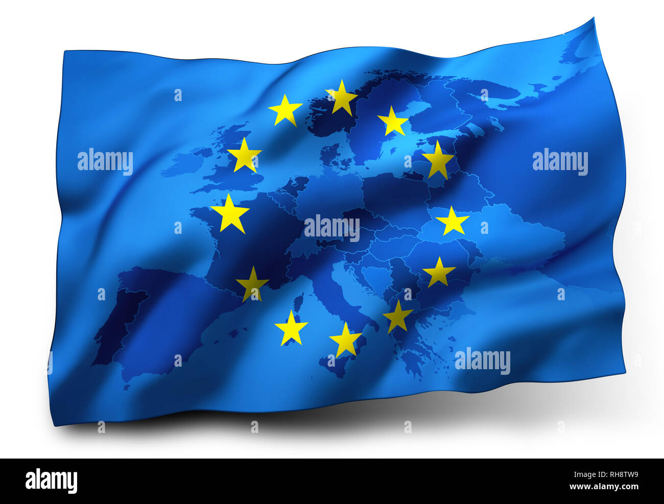 Flag of European Union blowing in the wind, Europe map inside. 3D illustration - Stock Image