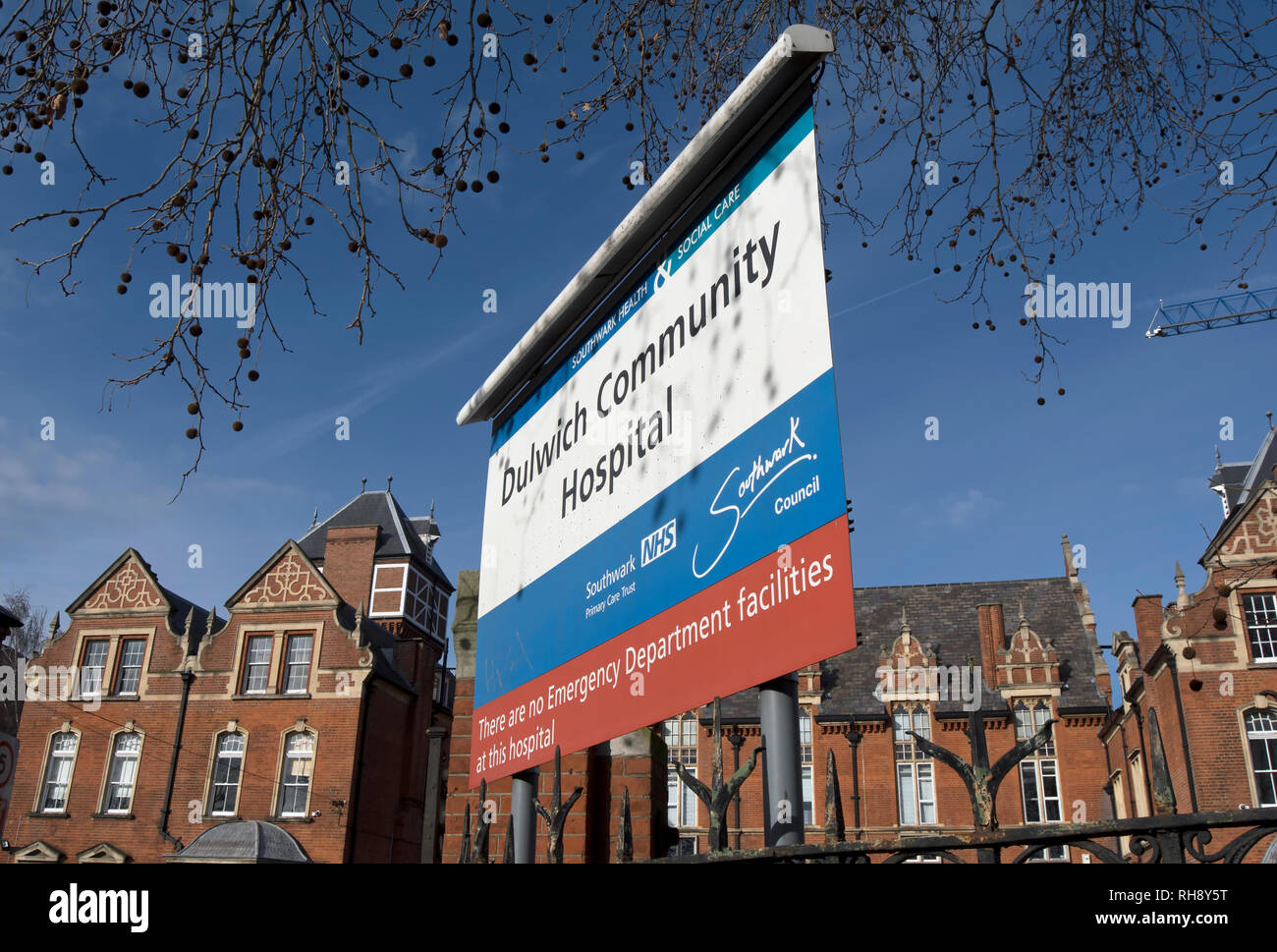 entrance sign at dulwich community hospital, east dulwich, london, england - Stock Image