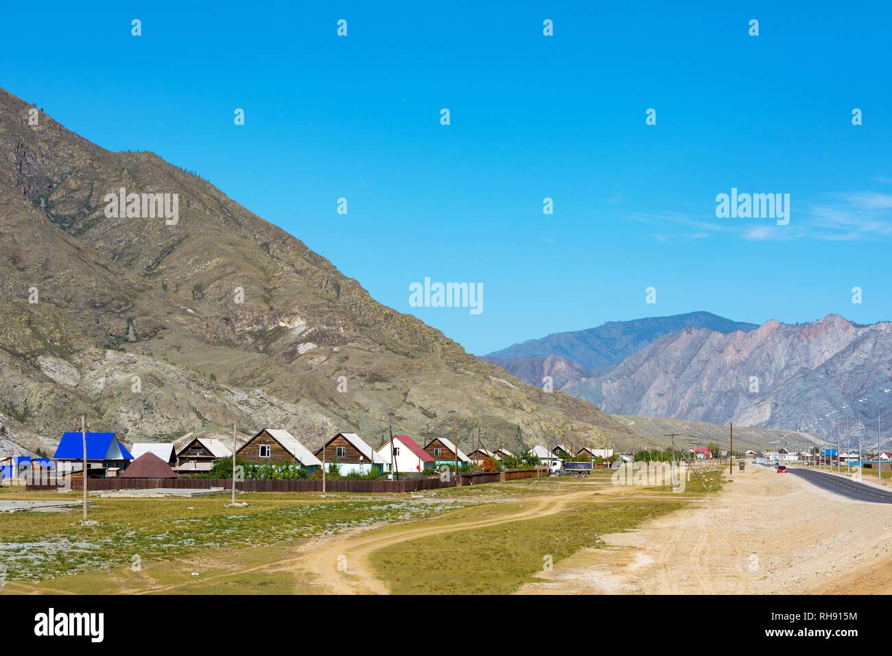 Inya village on the Chuyskiy tract, Altai Republic - Stock Image
