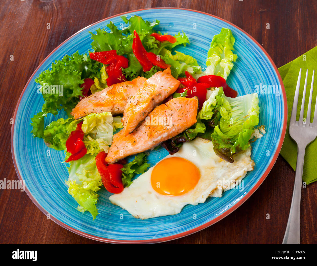 Low Calorie Healthy Breakfast With Roasted Trout Scrambled Eggs And