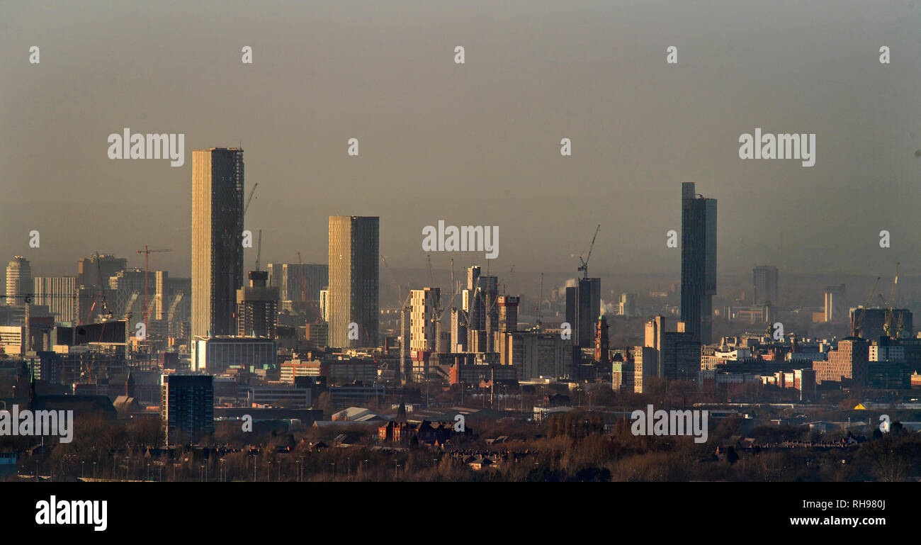 Manchester skyline showing the CIS building, the Arndale Centre, Manchester Town Hall, Beetham Tower and Owen Street Project - Stock Image
