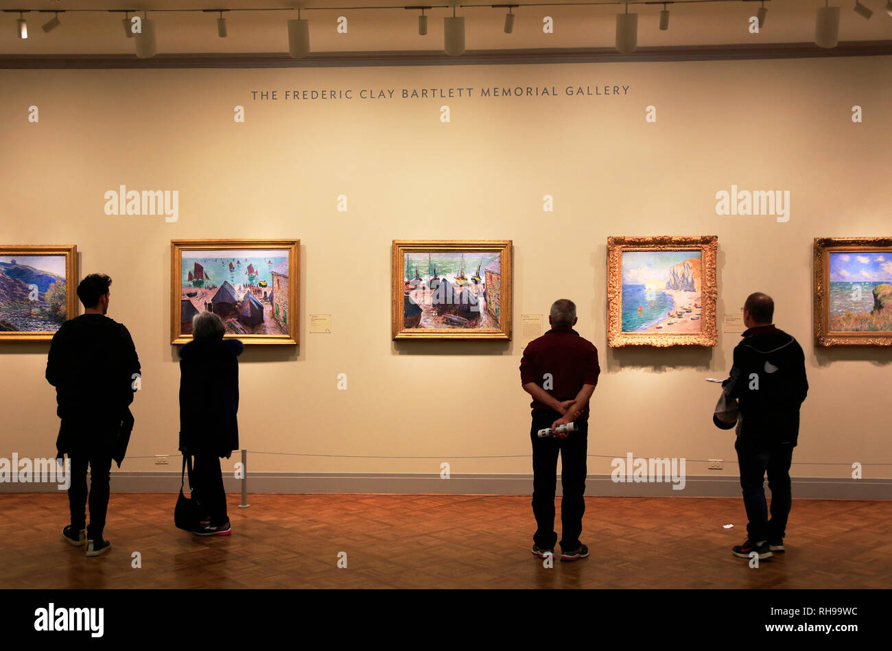 Visitors in the Frederic Clay Bartlett Memorial Gallery in Art Institute of Chicago.Chicago.Illinois.USA - Stock Image
