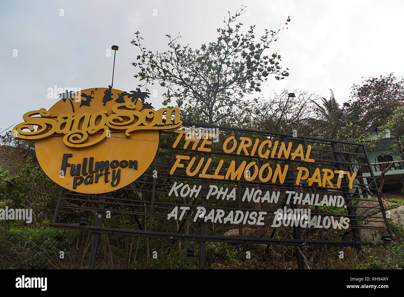 KOH PHANGAN - FEBRUARY 7, 2016: Sign at Koh Phangan island in Thailand. Island is part of the Samui Archipelago and is famous for Full Moon Party. - Stock Image
