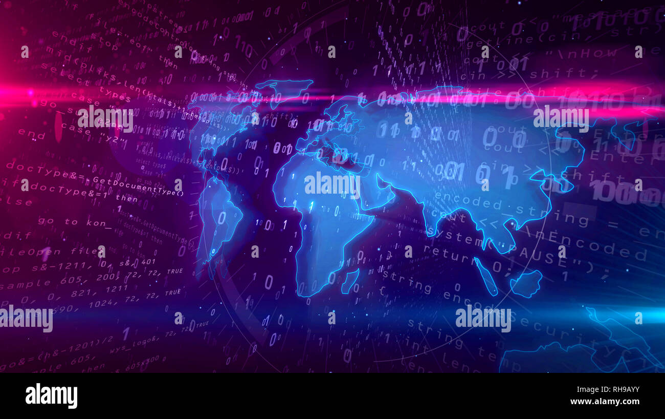 Global network with world map on digital background. Concept of cyberspace communication and internet connection 3D illustration. - Stock Image