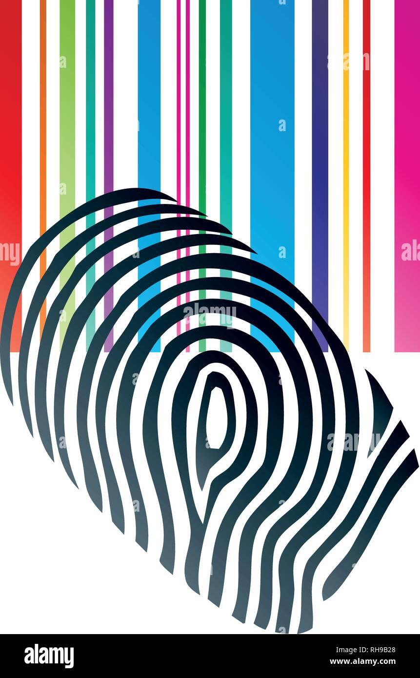 Fingerprint, Barcode, Logo, Vector - Stock Image