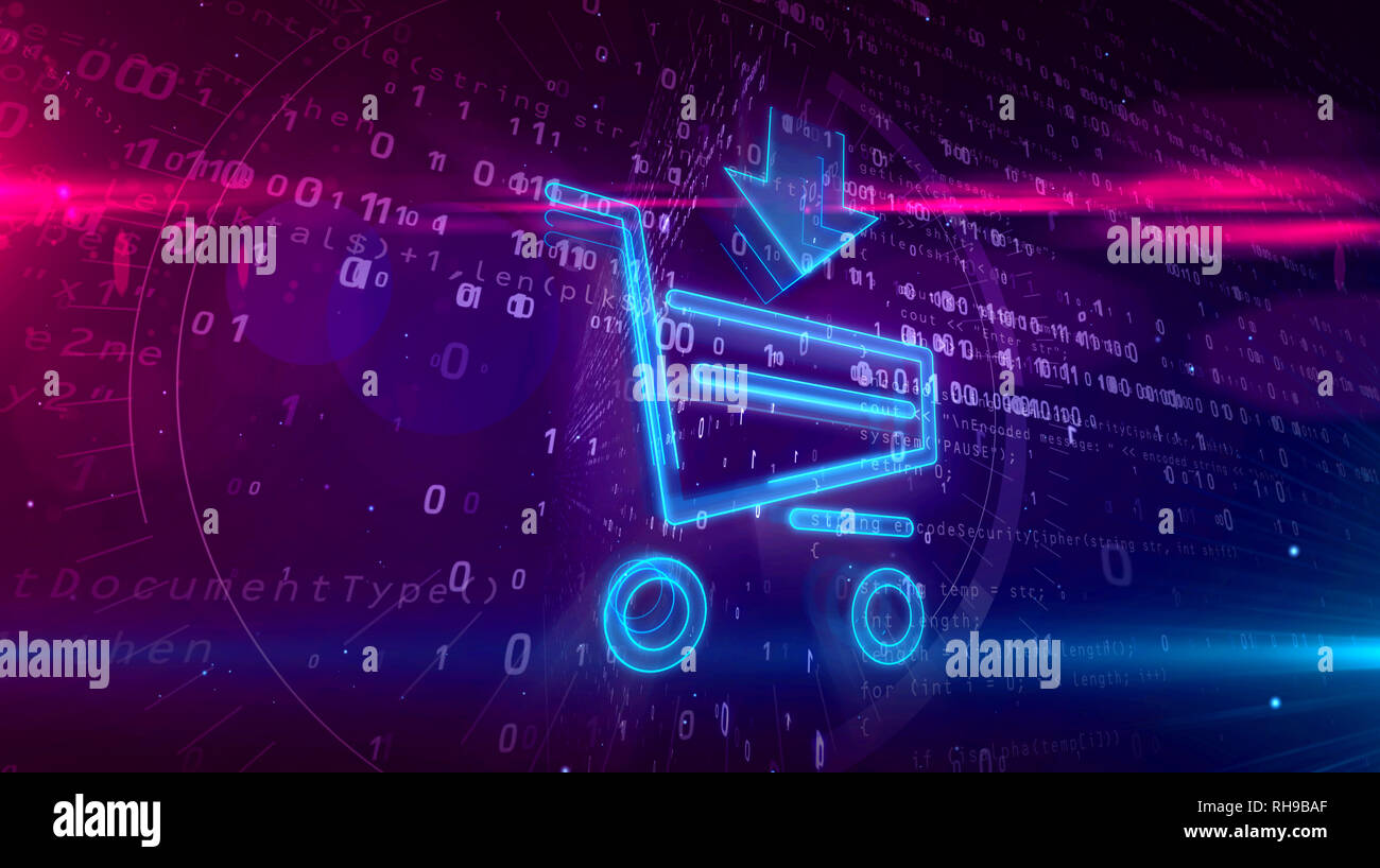 Internet Marketing Symbol With Shopping Cart E Commerce Symbol On Digital Background Online Business 3d Illustration Stock Photo Alamy