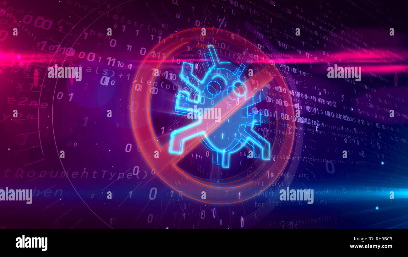 Antivirus icon on digital background. Internet worm ban symbol on abstract binary 3D illustration. - Stock Image