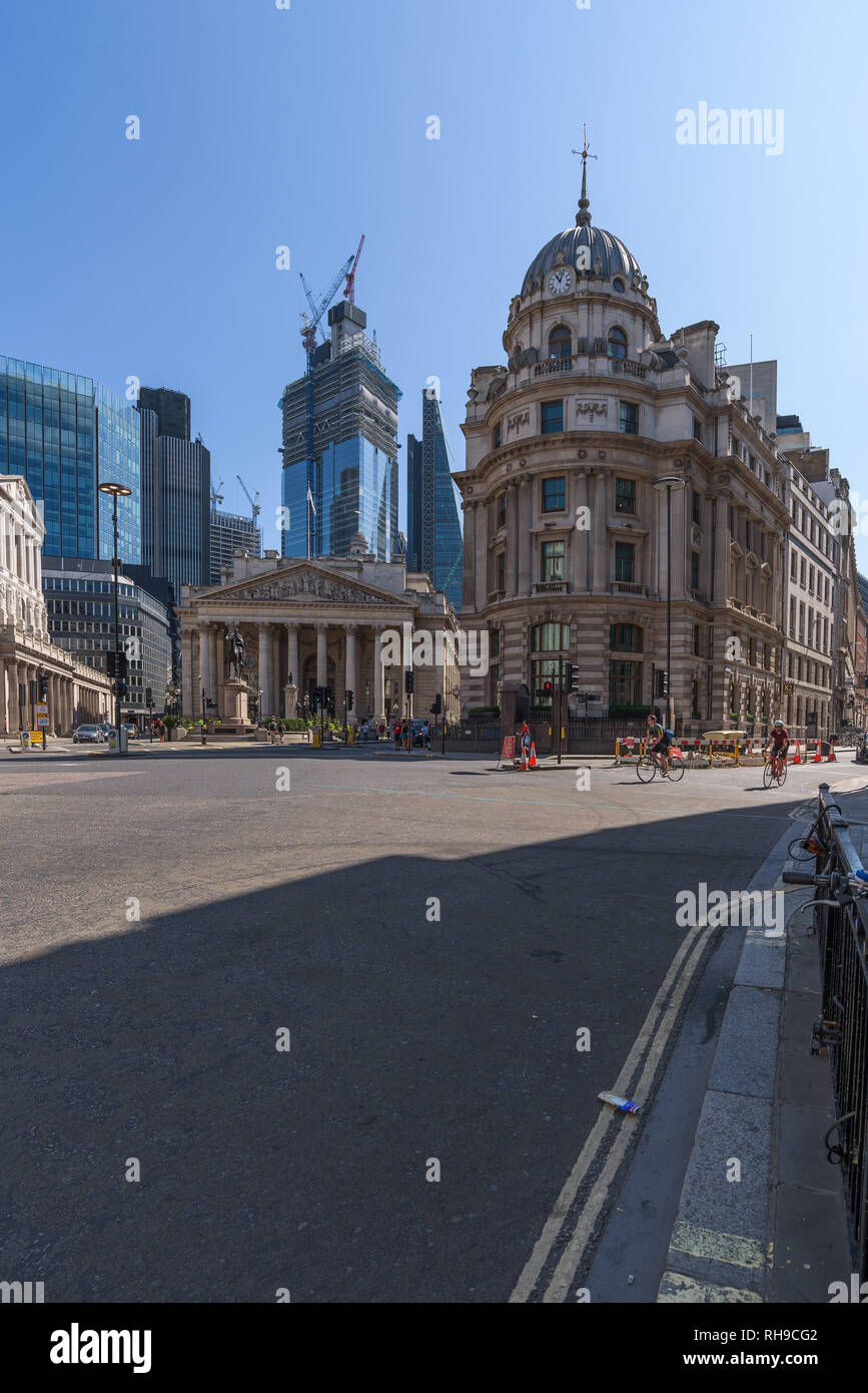 Bank Junction, where Threadneedle Street, Cornhill, Mansion House Street and Lombard Street meet. It is home to the London Stock Exchange Group. - Stock Image