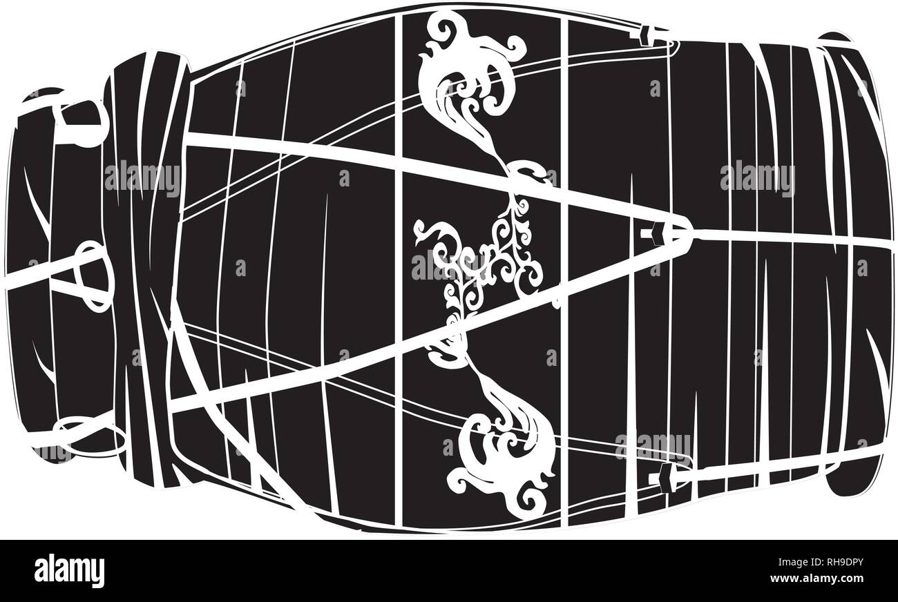 Vector black and white illustration of indian hand drum dholak isolated on white background. - Stock Vector