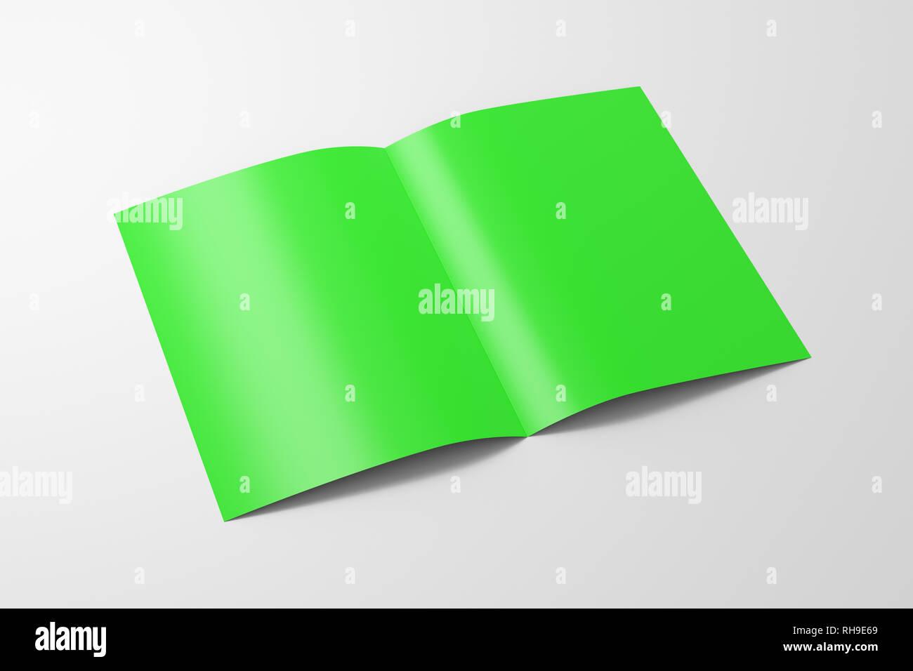 Blank Half Fold Brochure Design Isolated Stock Photos
