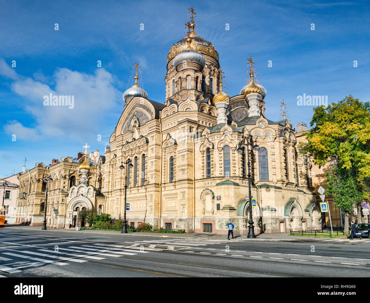 18 September 2018: St Petersburg, Russia - Church of the Assumption of Mary, on the Neva Embankment. Stock Photo