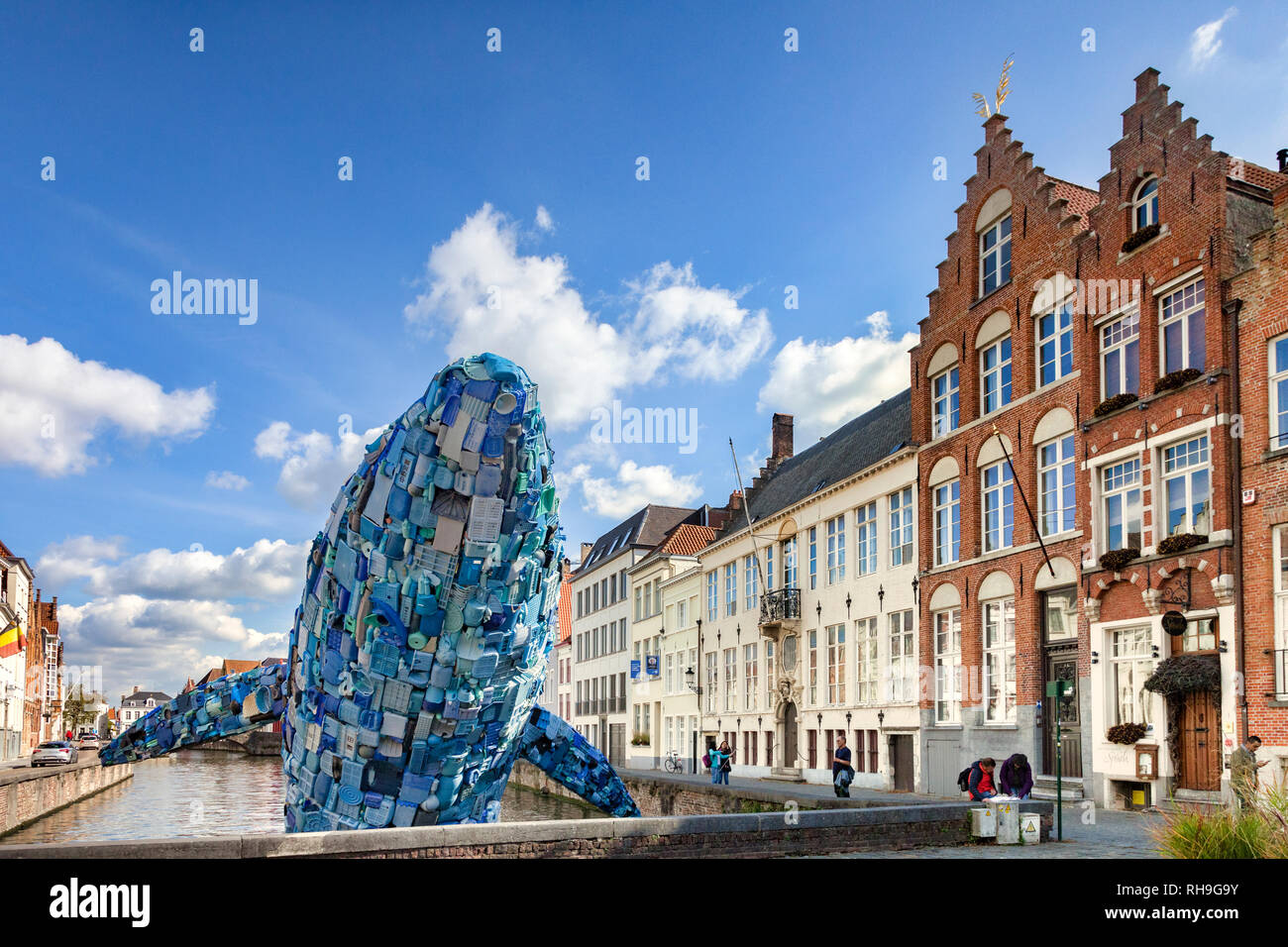 25 September 2018: Bruges, Belgium - The Bruges Whale, known as Skyscraper, made from  5 tons of plastic waste pulled out of the Pacific Ocean, for... Stock Photo