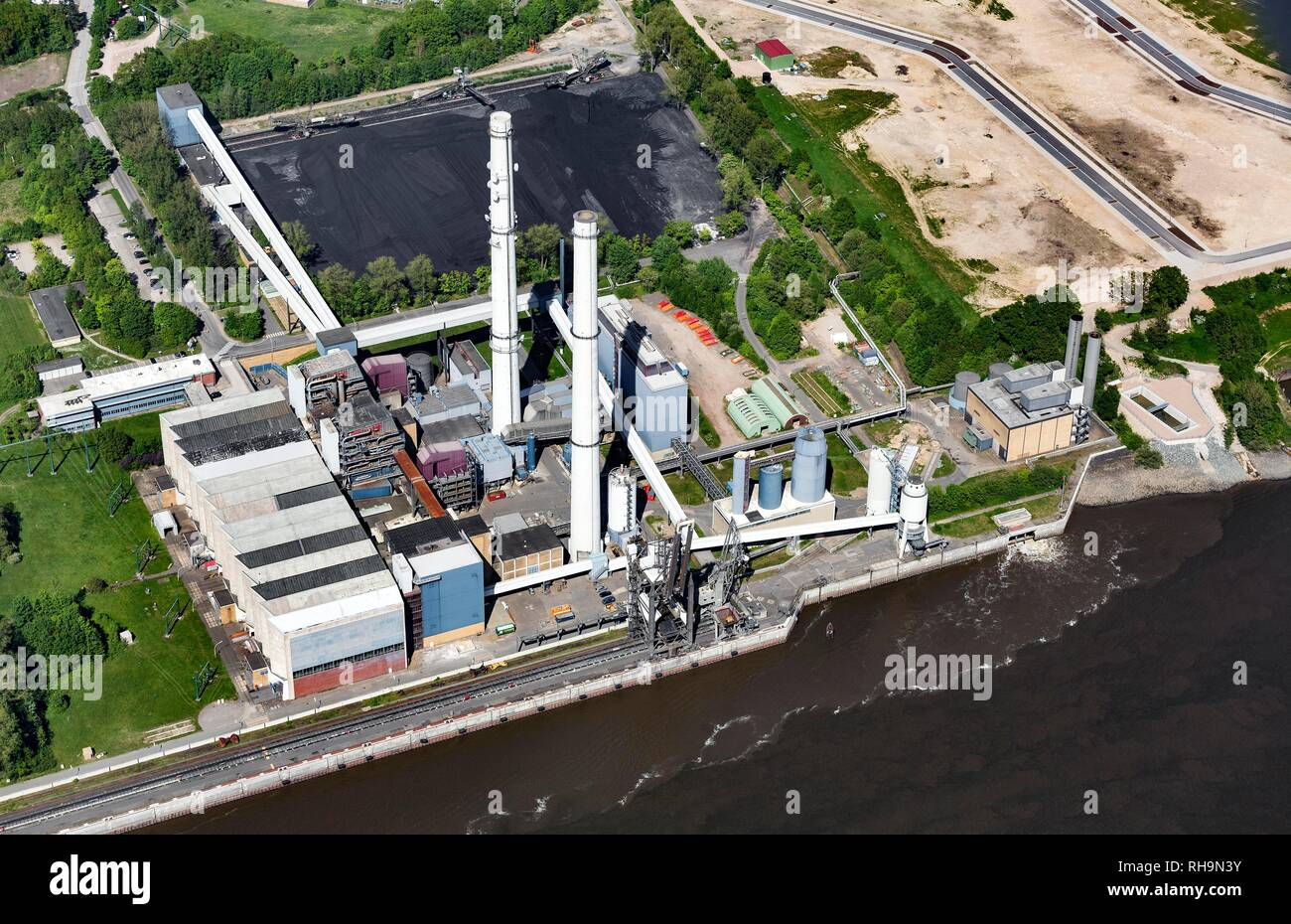 Aerial view, Wedel coal-fired power plant, Schleswig-Holstein, Germany - Stock Image