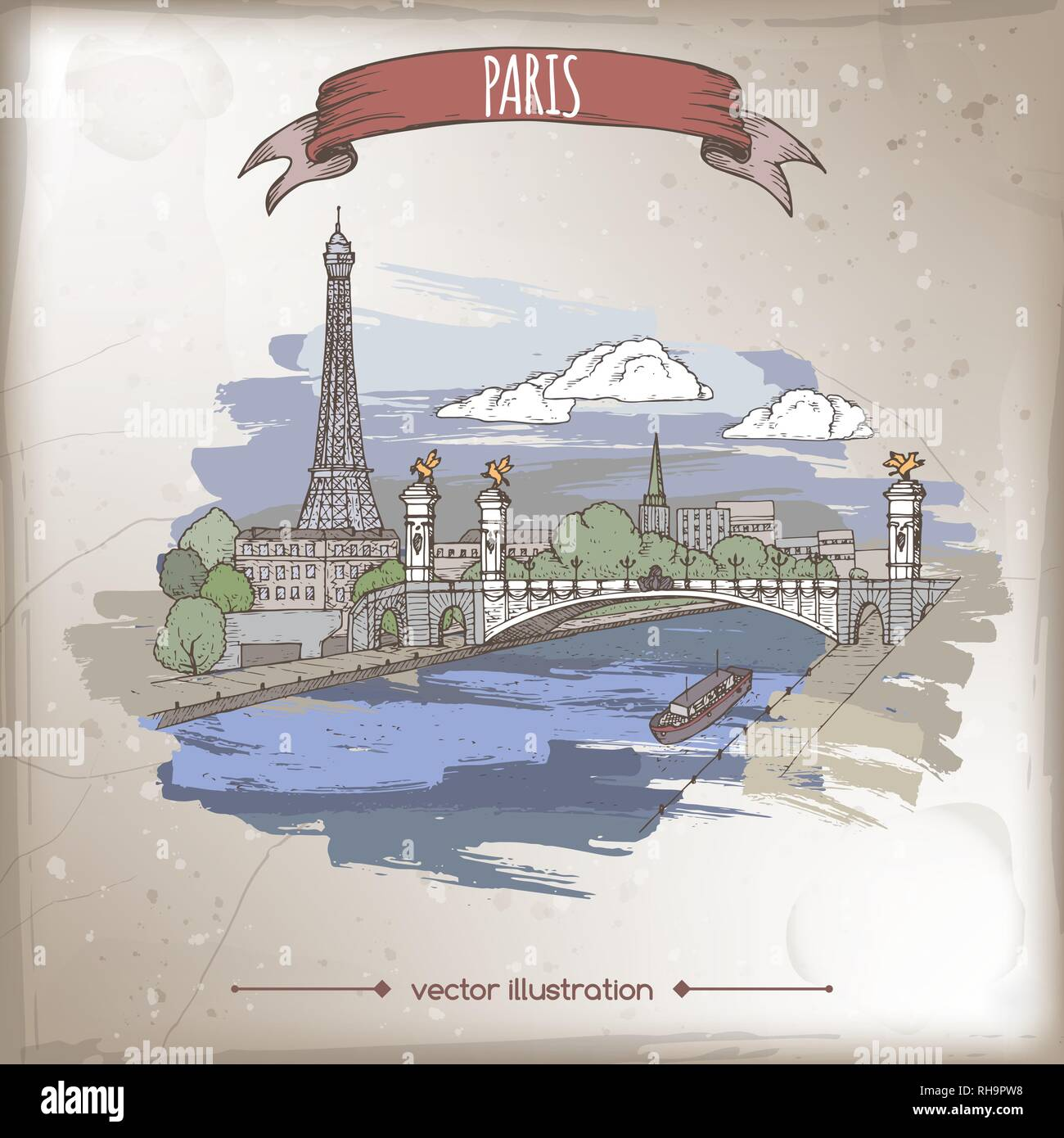 Vintage color travel illustration with Eiffel tower and Pont Alexandre bridge in Paris, France. Hand drawn sketch. - Stock Vector