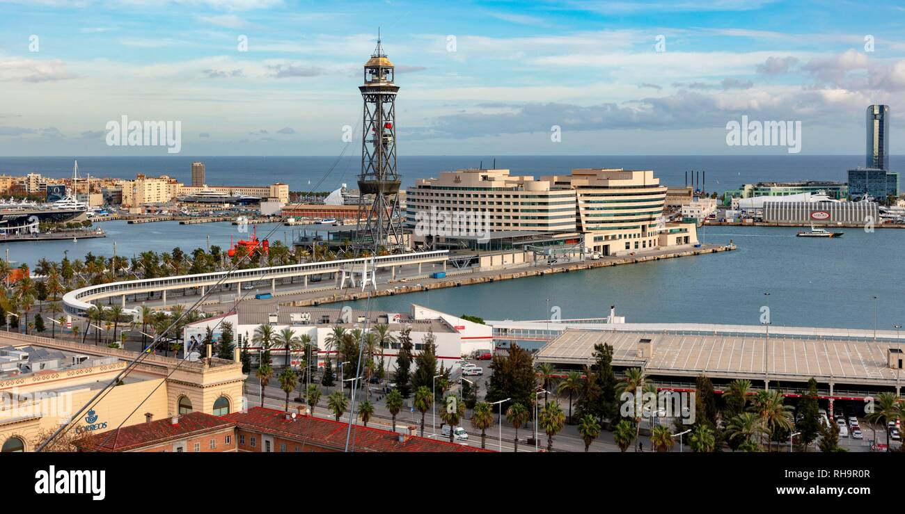 View from Montjuic, Port Vell with World Trade Centre, Barcelona, Barcelona Province, Catalonia, Spain - Stock Image