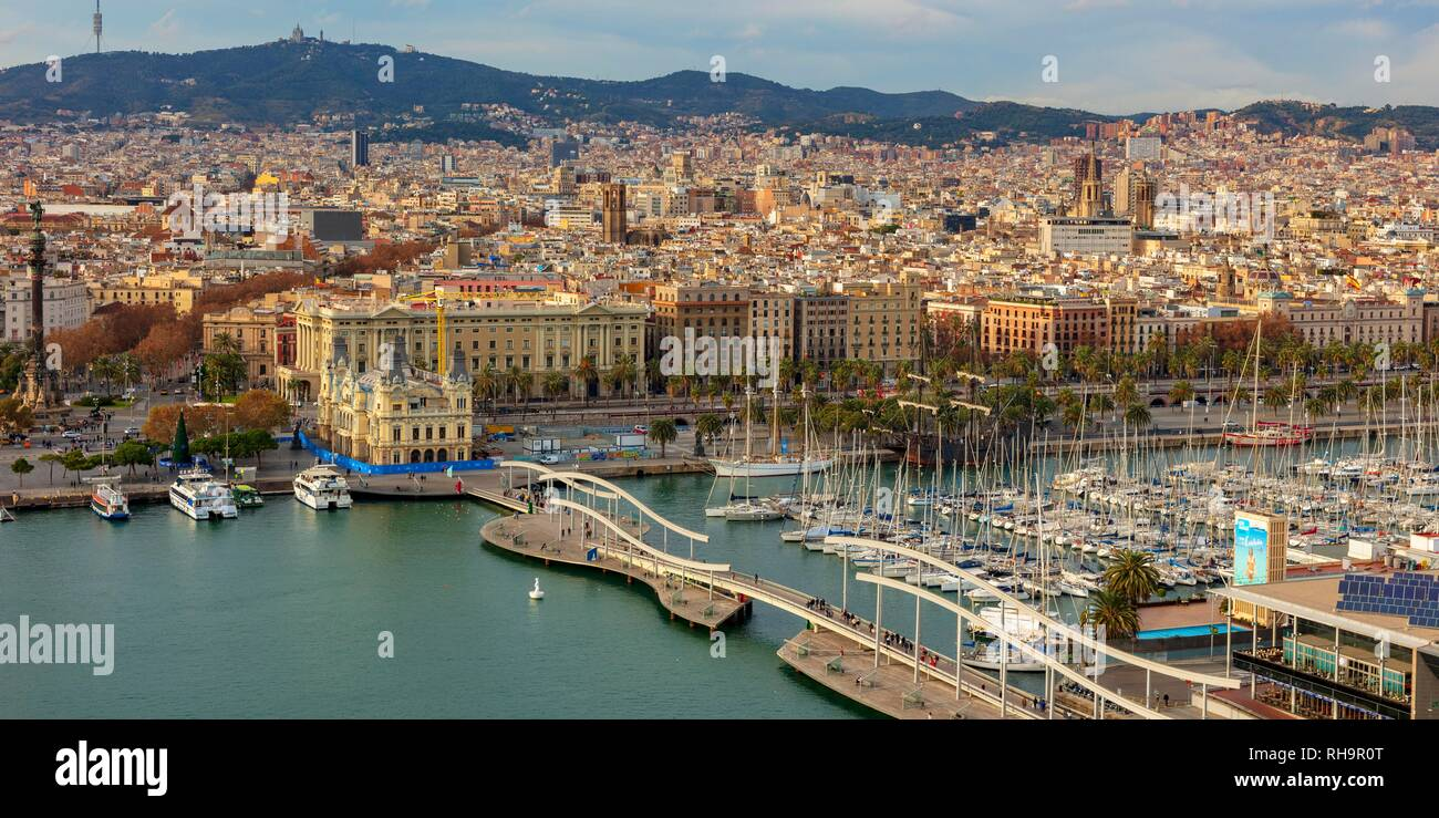 View over the harbour Port Vell, Barcelona, province Barcelona, Catalonia, Spain - Stock Image