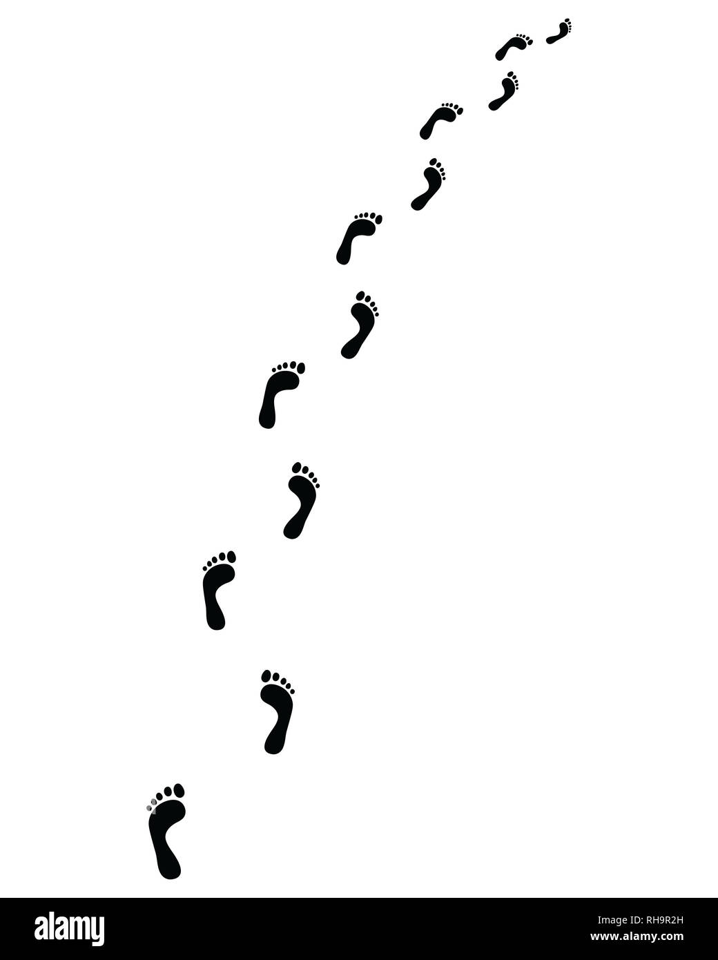Trail of human bare footsteps, turn left or right - Stock Image
